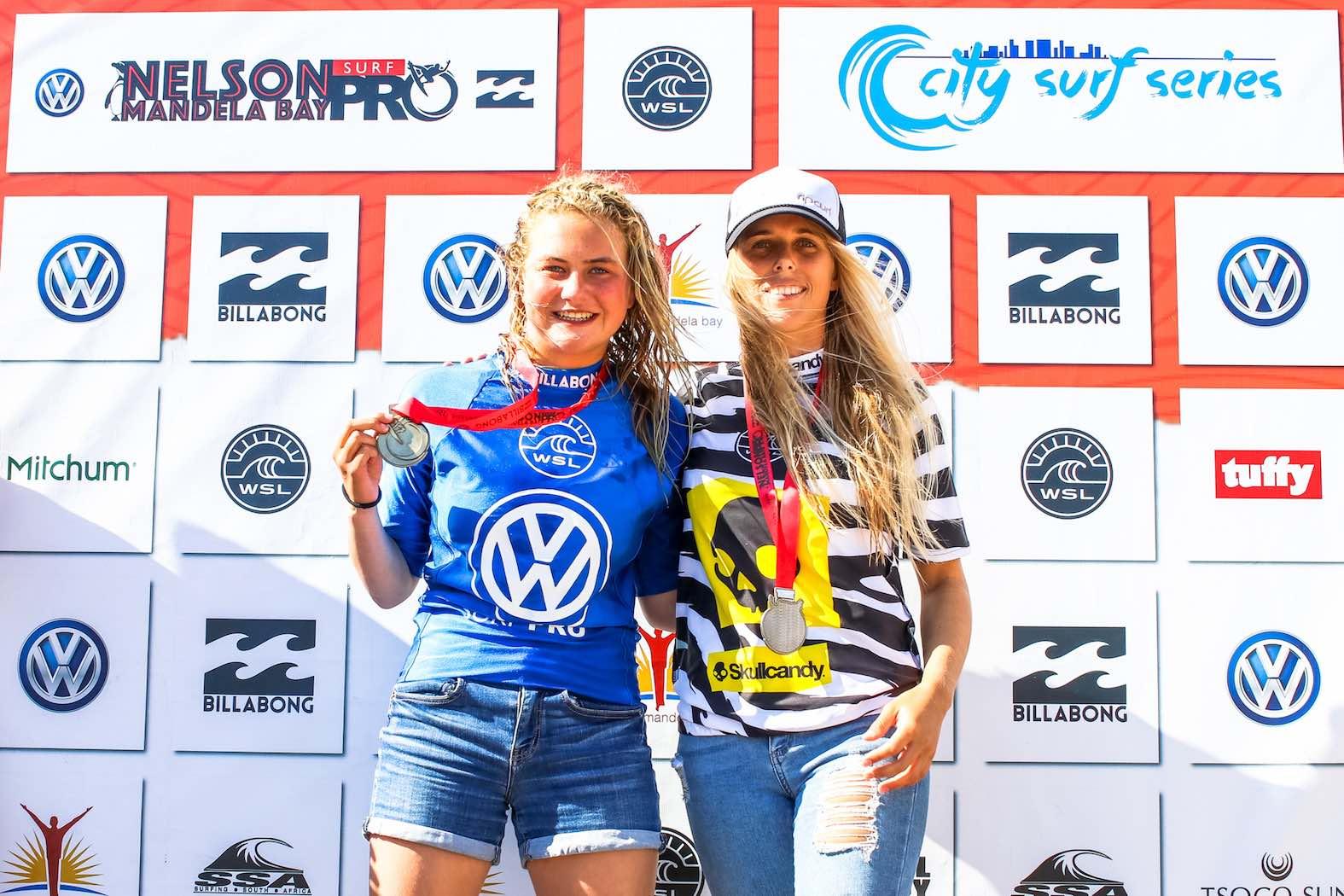 Volkswagen Nelson Mandela Bay Surf Pro Women's final podium