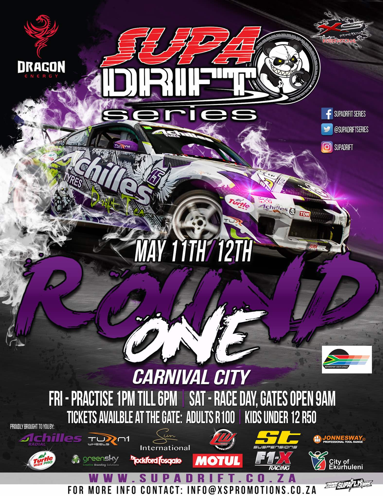 Details for Round 1 of the 2018 national drifting championship, the SupaDrift Series