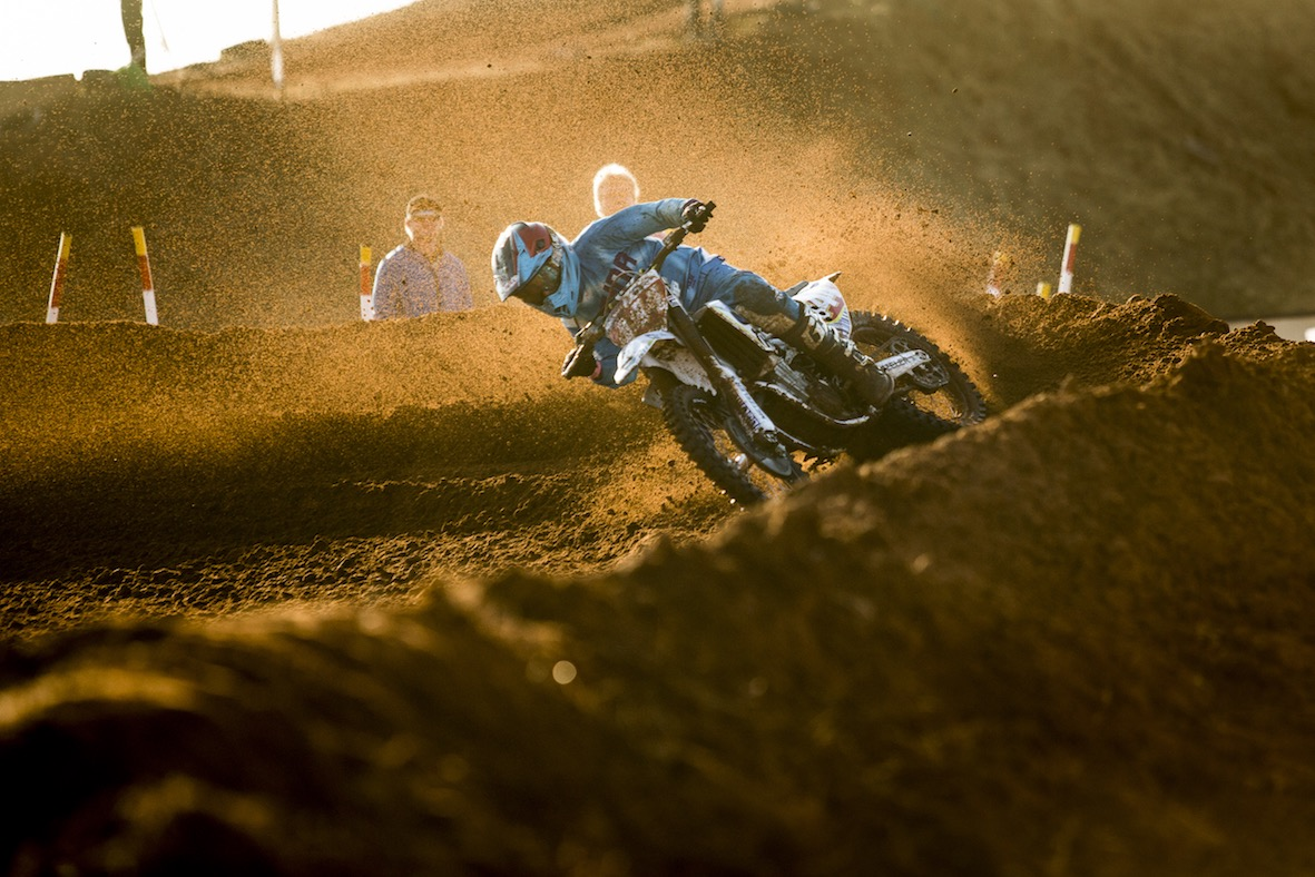 Caleb Tennant racing his way to victory in both the MX1 and MX2 classes at the Motocross Nationals