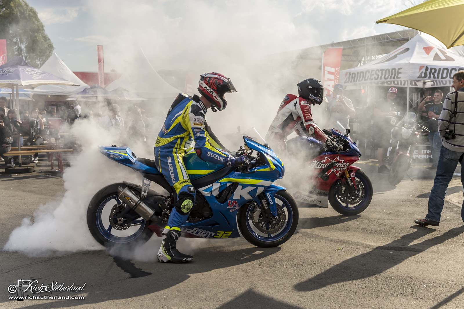 Superbike burnouts after racing at the 2018 Bike Fest
