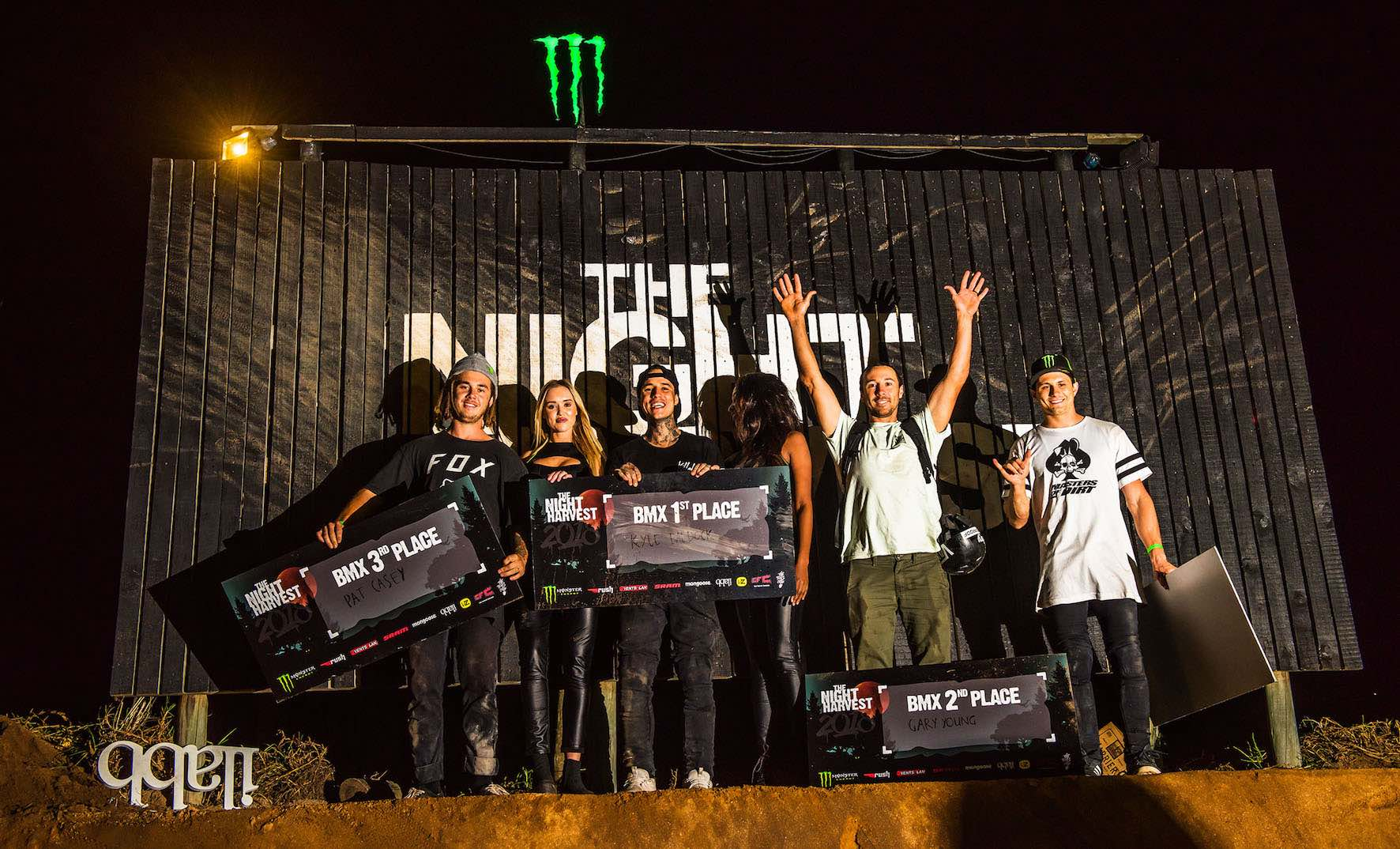The Night Harvest 2018 BMX podium