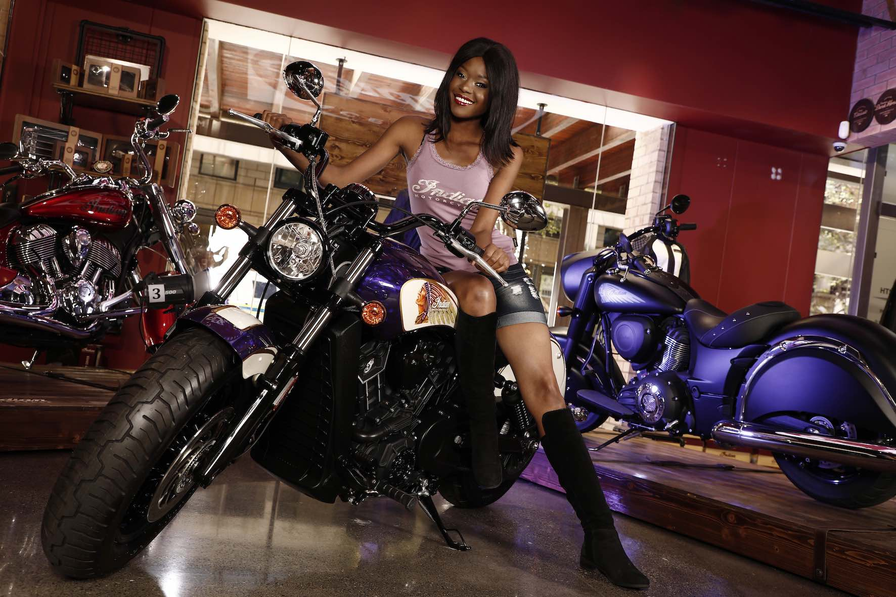 Keipeile Dintoe features as one of the Indian Motorcycle Vixens