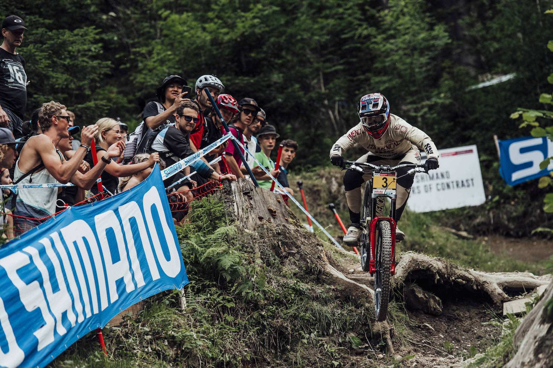 Amaury Pierron on his way to winning the 2018 Leogang Downhill MTB World Cup
