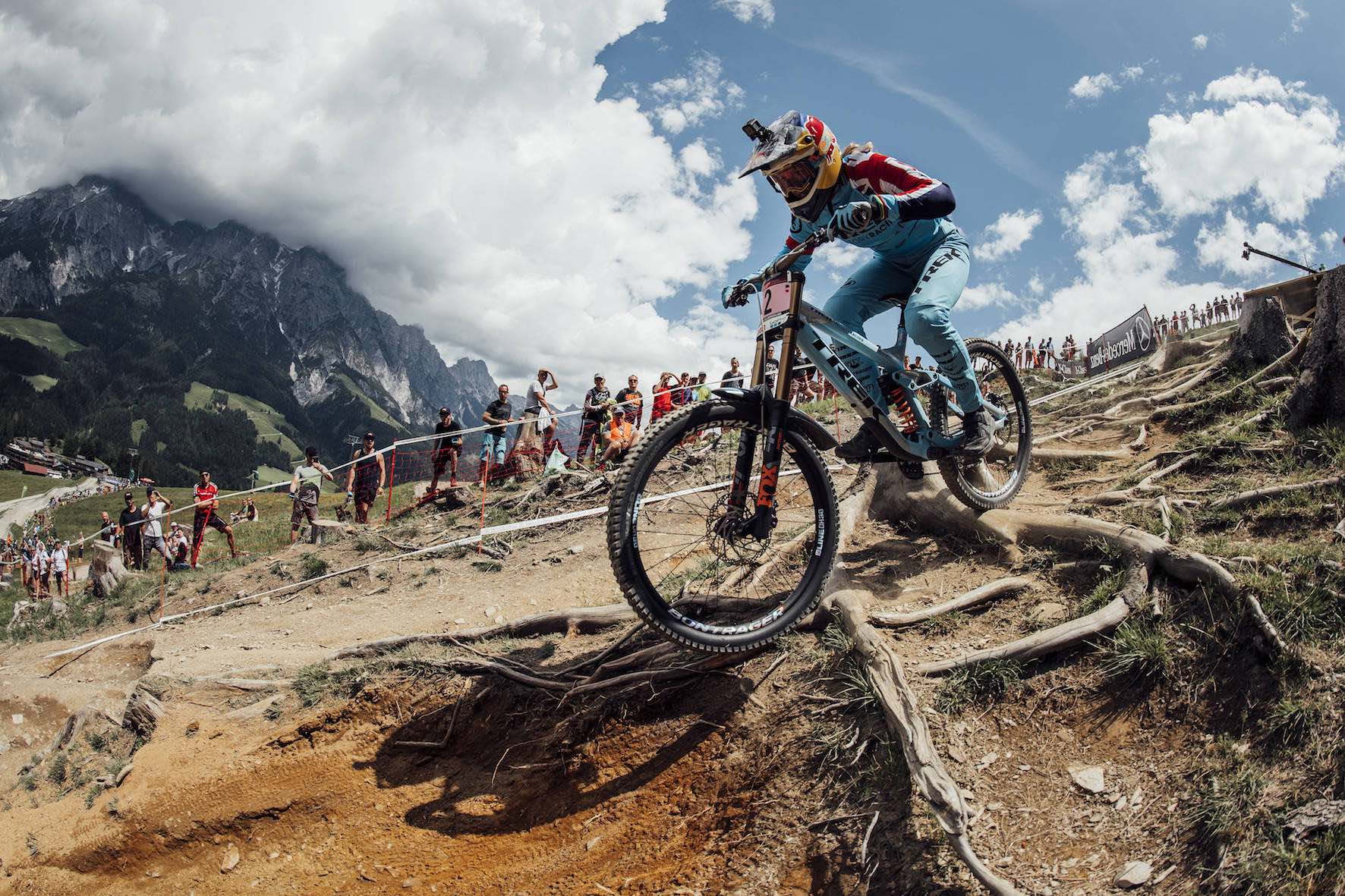 Rachel Atherton on his way to winning the 2018 Leogang Downhill MTB World Cup