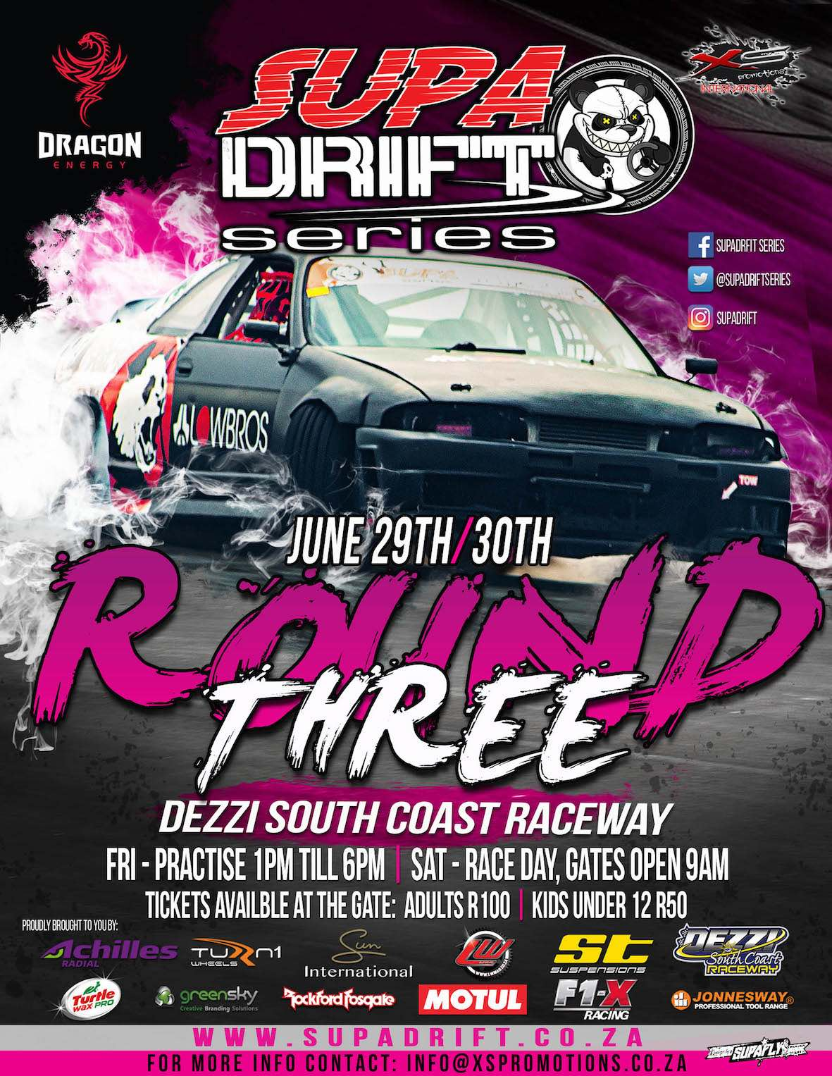 Catch the drifting action at Round 3 of the 2018 SupaDrift Series taking place at Dezzi Raceway in Port Shepstone