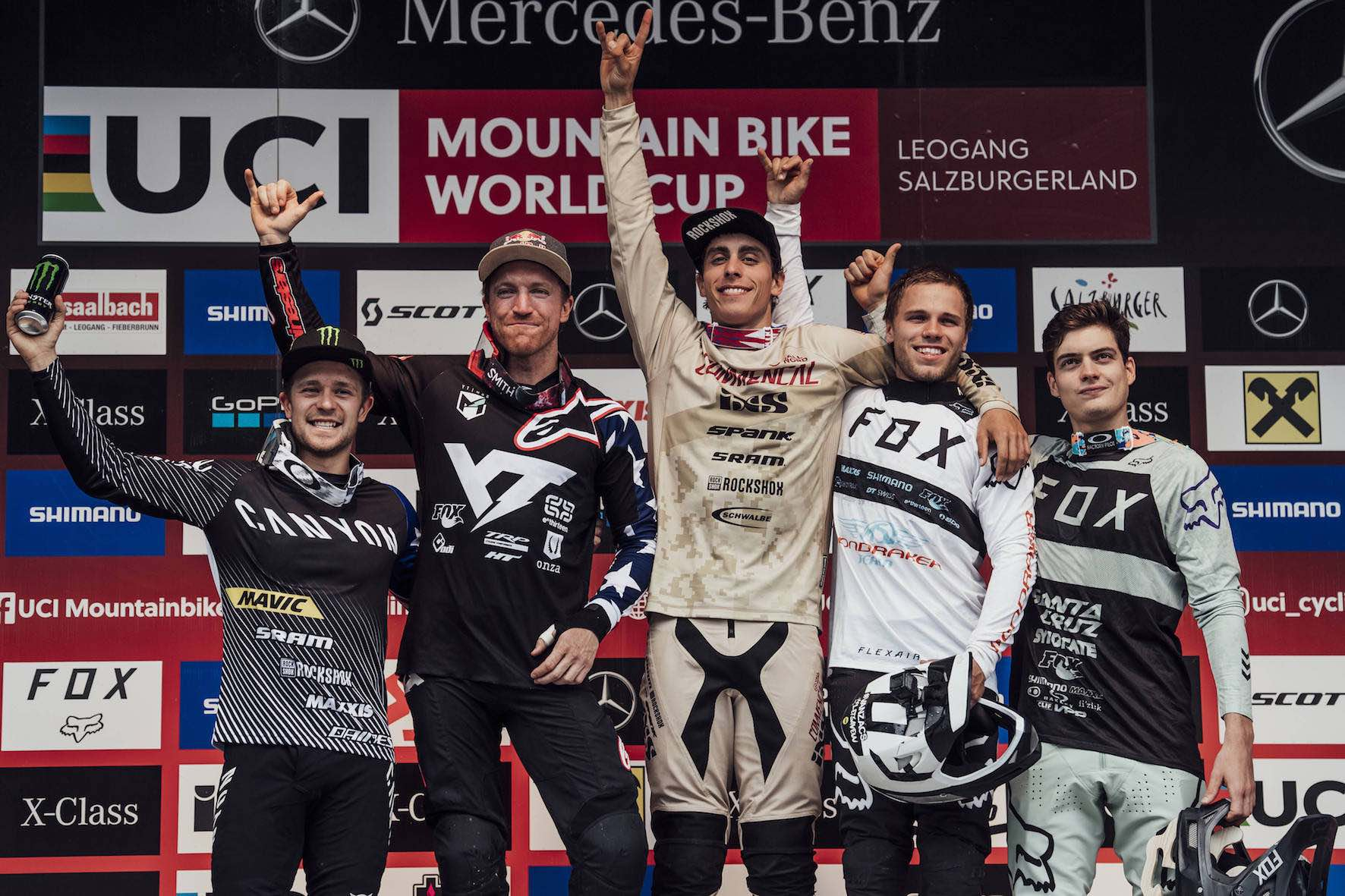 The 2018 Leogang, Austria Downhill MTB World Cup Men's podium