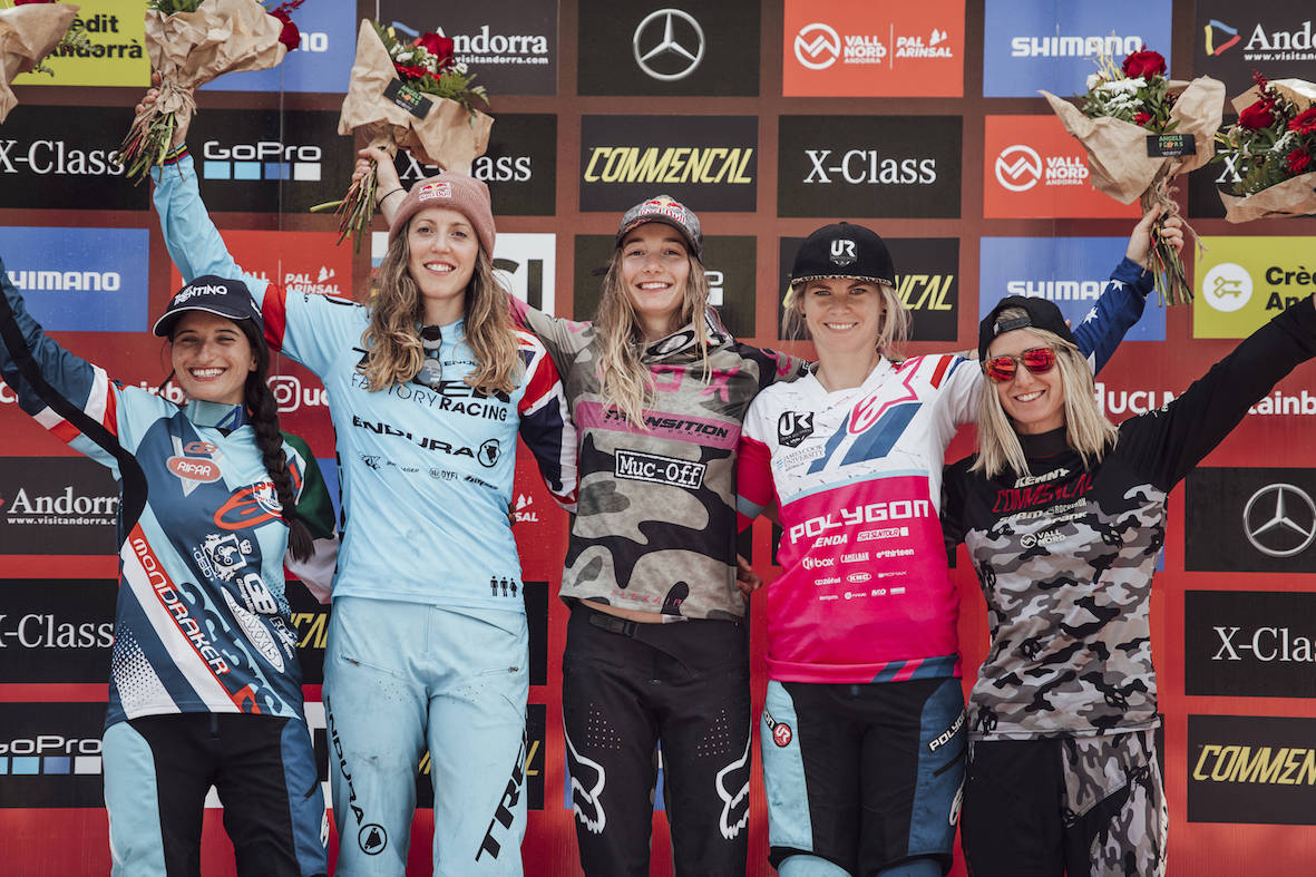 2018 Andorra Downhill MTB World Cup Women's podium