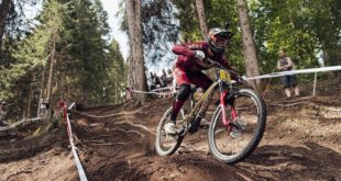 Amaury Pierron racing his way to victory at the 2018 Val di Sole Downhill MTB World Cup