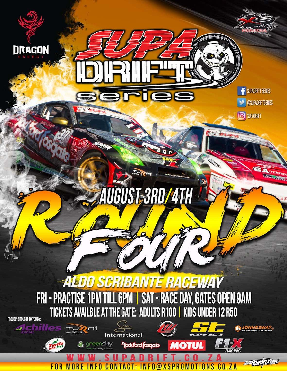 Witness the country's best in drifting at Round 4 of the Supadrift Series at the Aldo Scribante race track in Port Elizabeth
