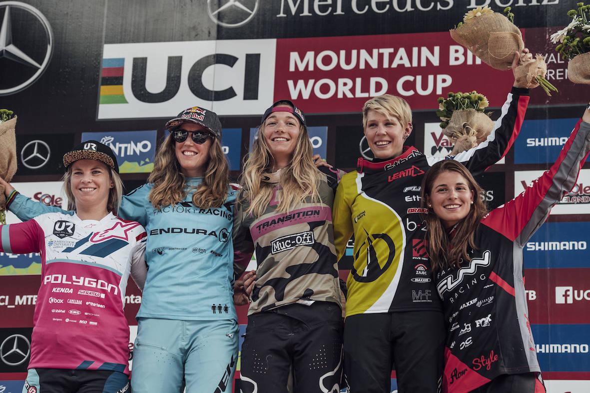 2018 Val di Sole Downhill MTB World Cup Women's Podium