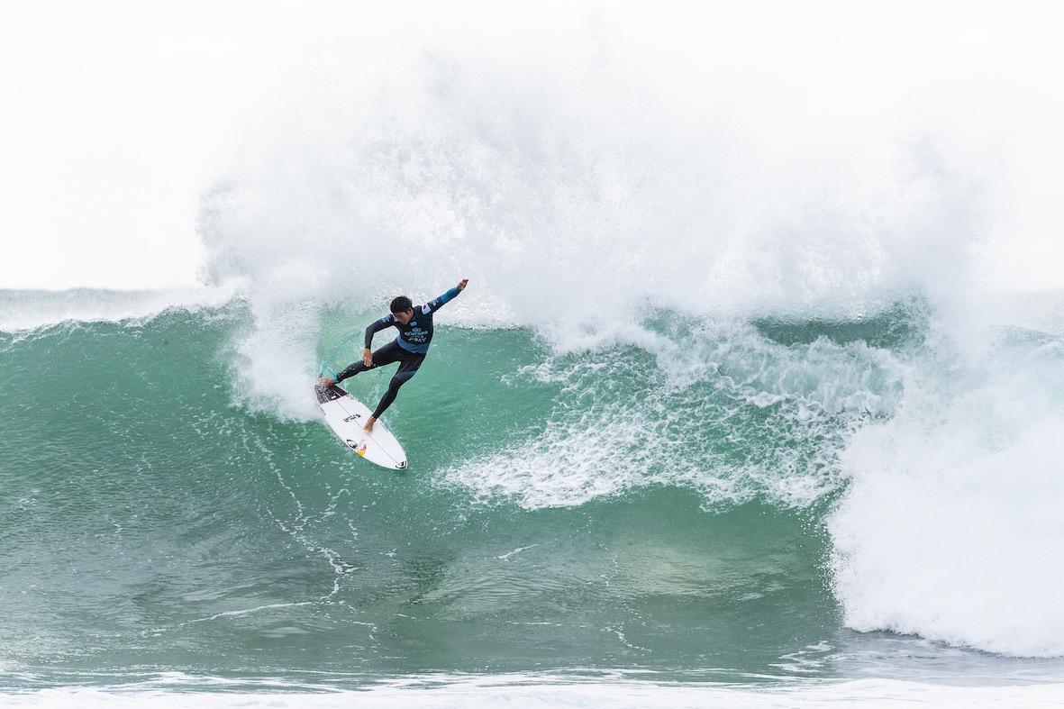 Kanoa Igarashi surfing in the 2018 Corona Open J-Bay