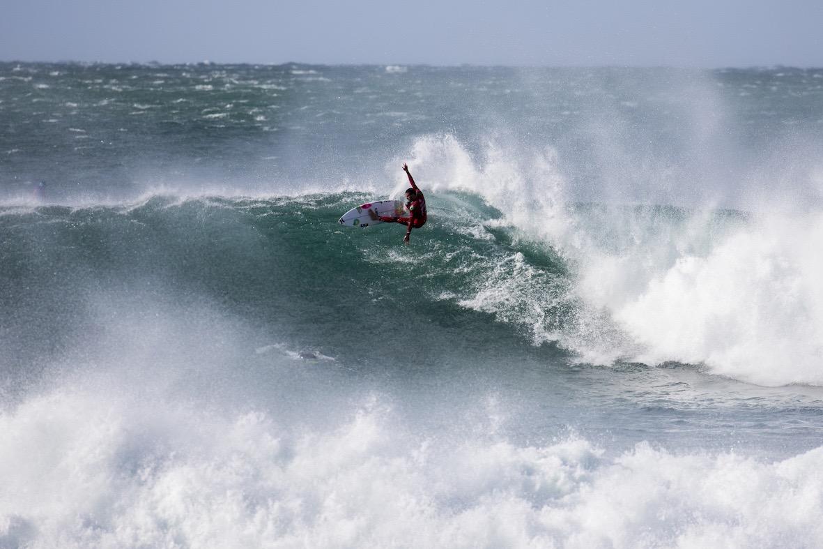 Filipe Toledo surfing in the 2018 Corona Open J-Bay