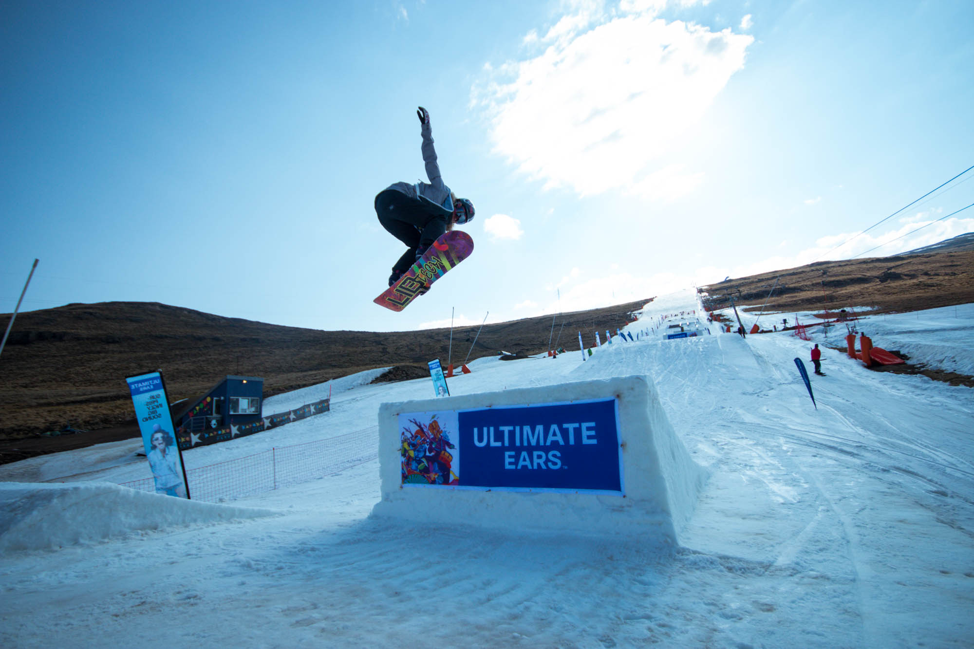 Mawa Jekot winning the Ladies Snowboarding division at Ultimate Ears Winter Whip