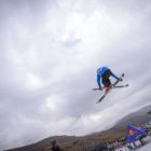 Dimonik Schalper skiing in the Ultimate Ears Winter Whip slopestyle contest