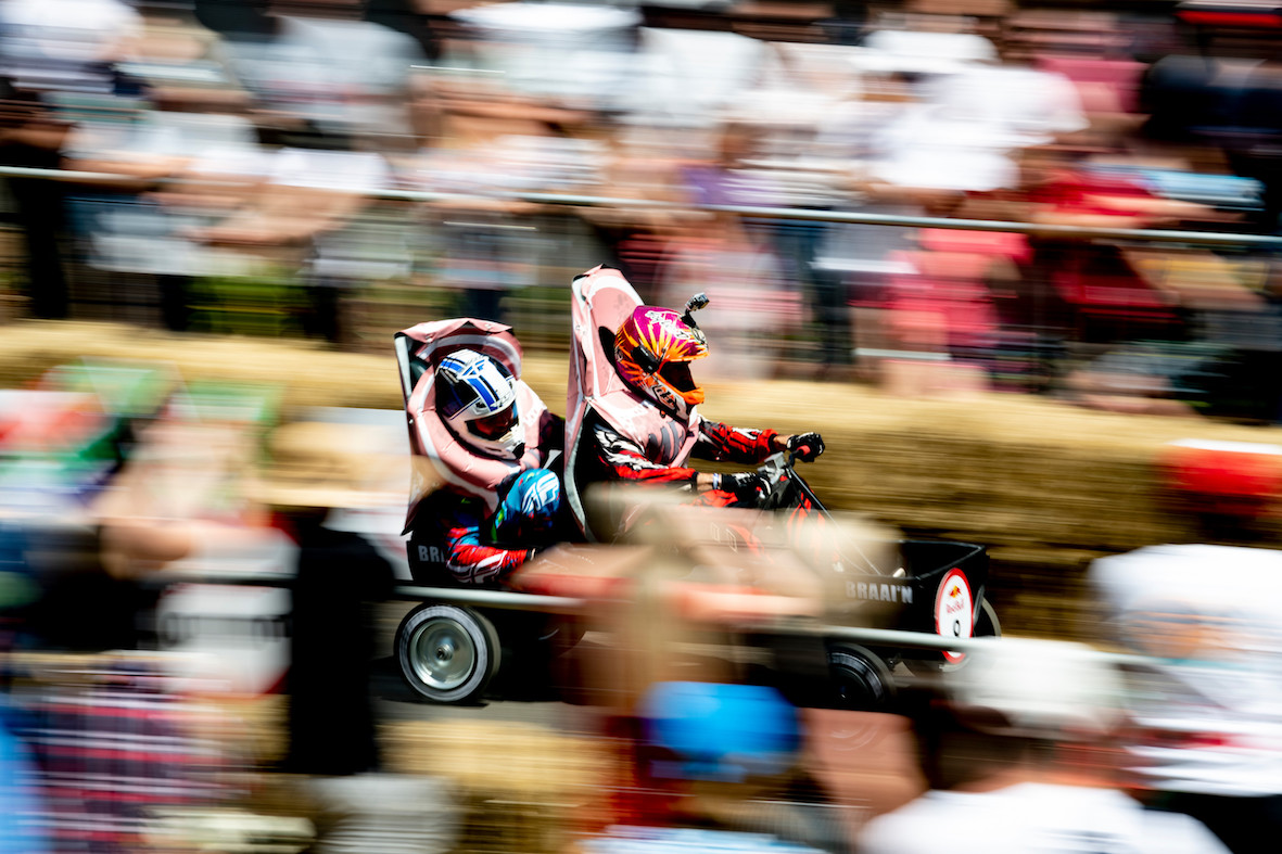 Racing action at the Red Bull Box Cart Race