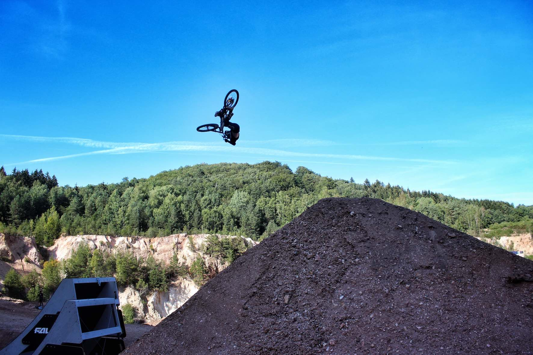 Ethan Nell tricking the big kicker jump at Audi Nines