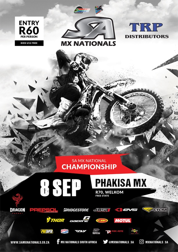 Details for Round 6 of the 2018 TRP Distributors SA Motocross National Championship taking place at Phakisa MX in Welkom