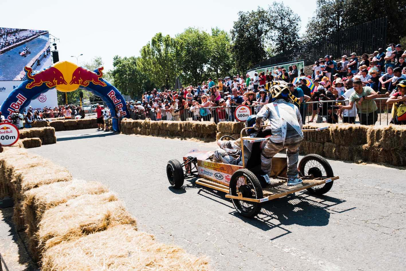 Racing into the finish line at Red Bull Box Cart Race 2018