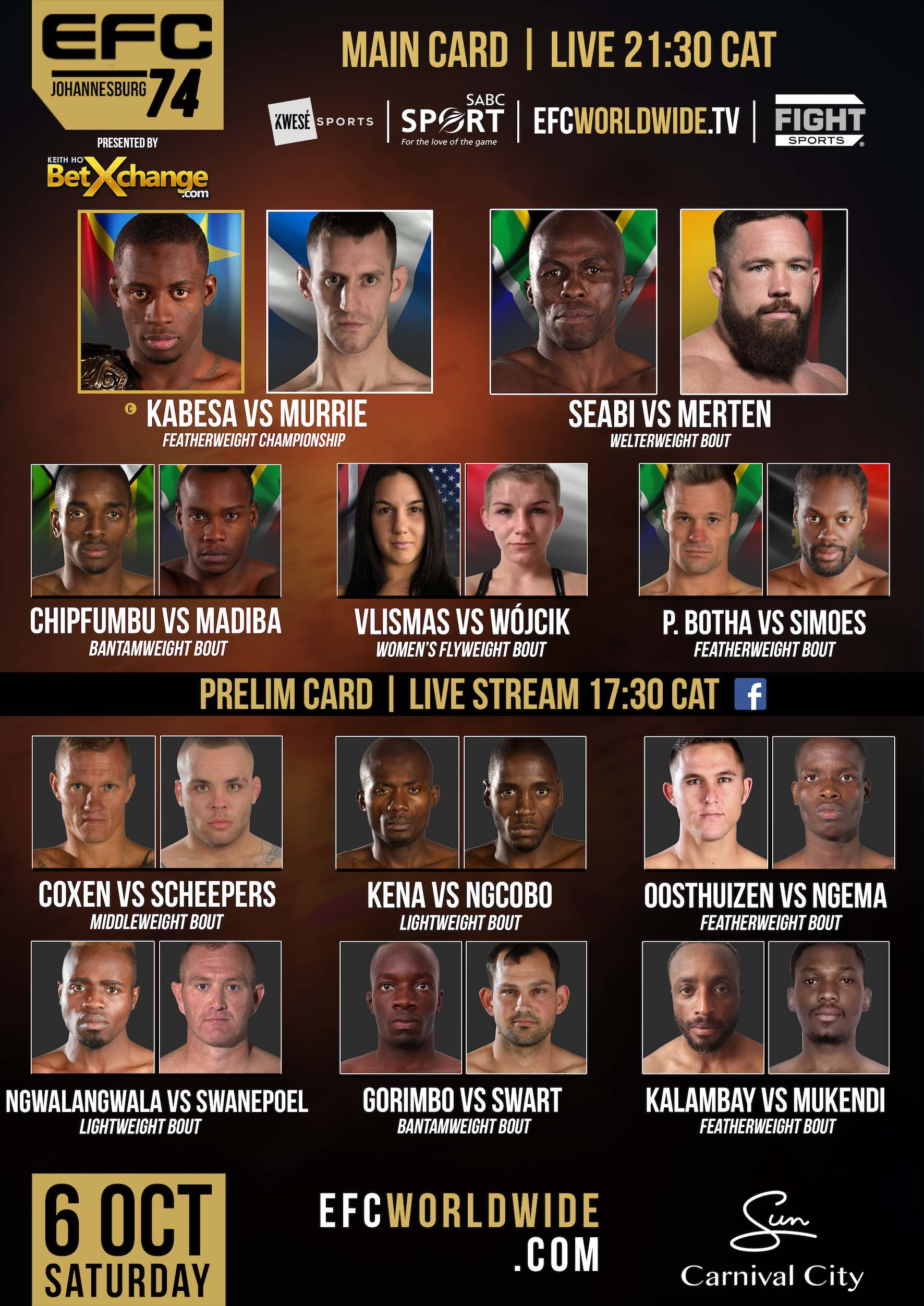 EFC 74 fight card featuring 11 exciting MMA fights