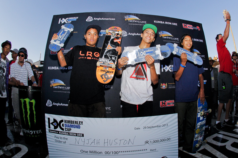 Nyjah Huston takes the win the Pro Street Skateboarding contest