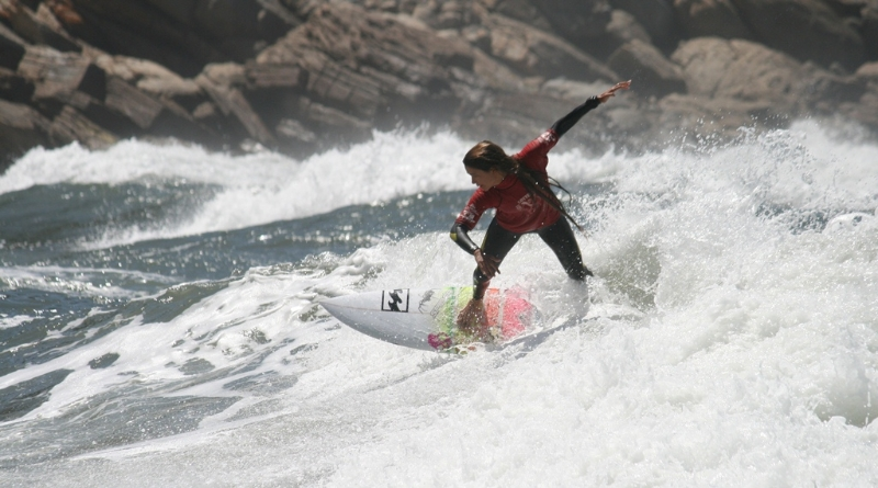 Tanika Hoffman taking the win at the Vic Bay Quad surfing contest
