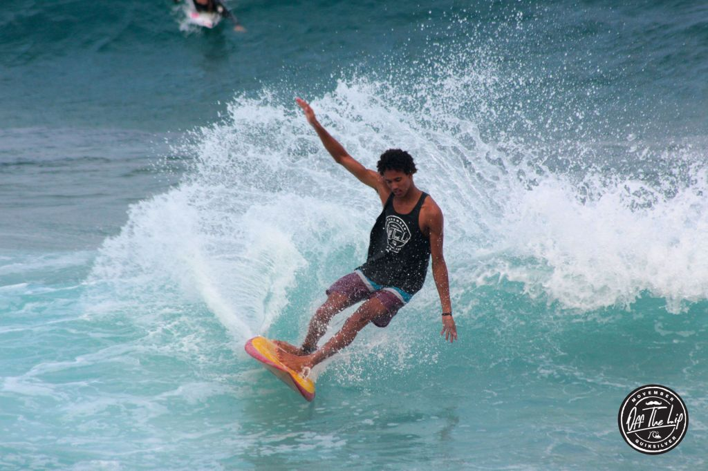 Michael Februar taking the win at the Off The Lip Mo Retro Surfing Jam