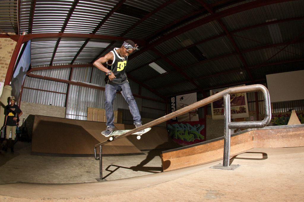 Khule Ngubane shows his Skateboarding skills on tour