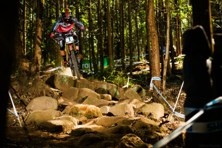 Downhill MTB World Champion Greg Minnaar takes 3rd place at the PMB World Cup