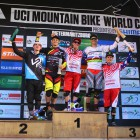 Elite Men Podium at the Dowhill MTB World Cup in PMB