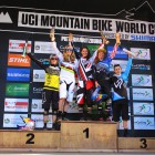 Elite Women Podium at the Dowhill MTB World Cup in PMB
