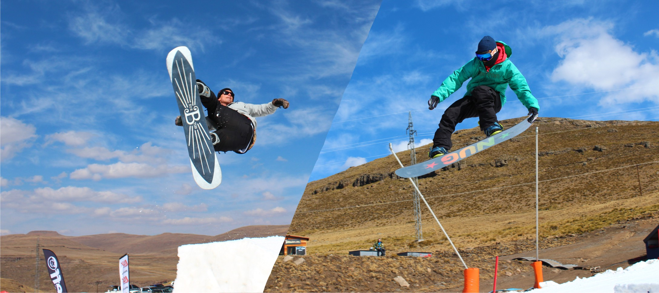 Grilo and Roope snowboarding in South Africa