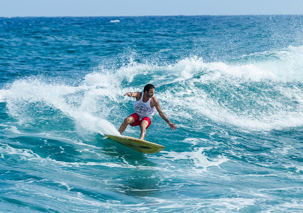 Dylan Stewart surfing his way to victory at the Off the Lip Movember Surf Jam