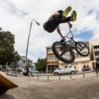 BMX rider Robert Davies with a no footer can