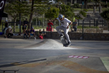 Moses Adams skateboarding his way to victory at the Element Make It Count Skate contest