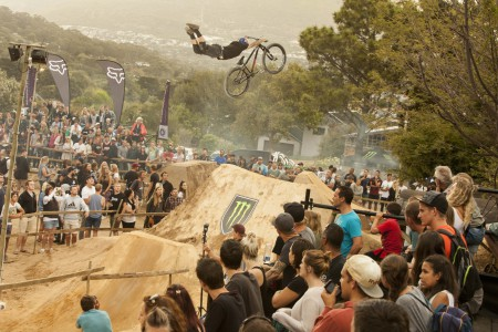 MTB rider Andreu Lacondeguy showcasing his skills at the night harvest competition