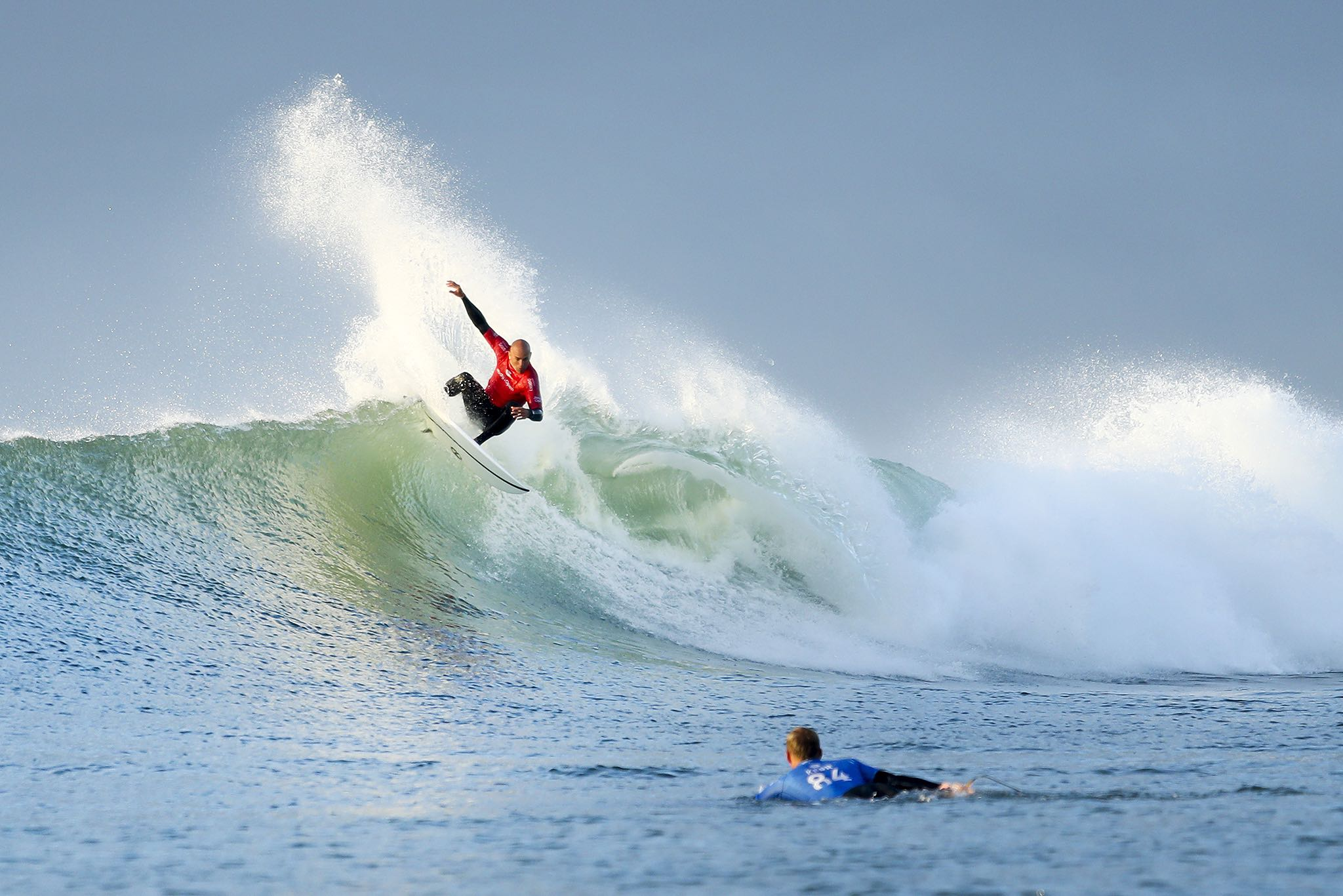 Kelly Slater competing in the 2016 J-Bay Open of Surfing