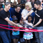 The cutting of the ribbon at the official opening of Skateistan South Africa