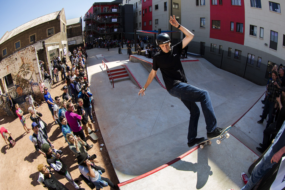 Tony Hawk skateboarding at Skateistan South Africa in Johannesburg