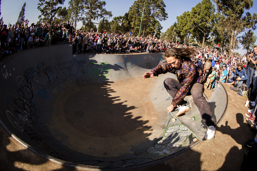 Shawn Hale skateboarding at the Germiston Bowl