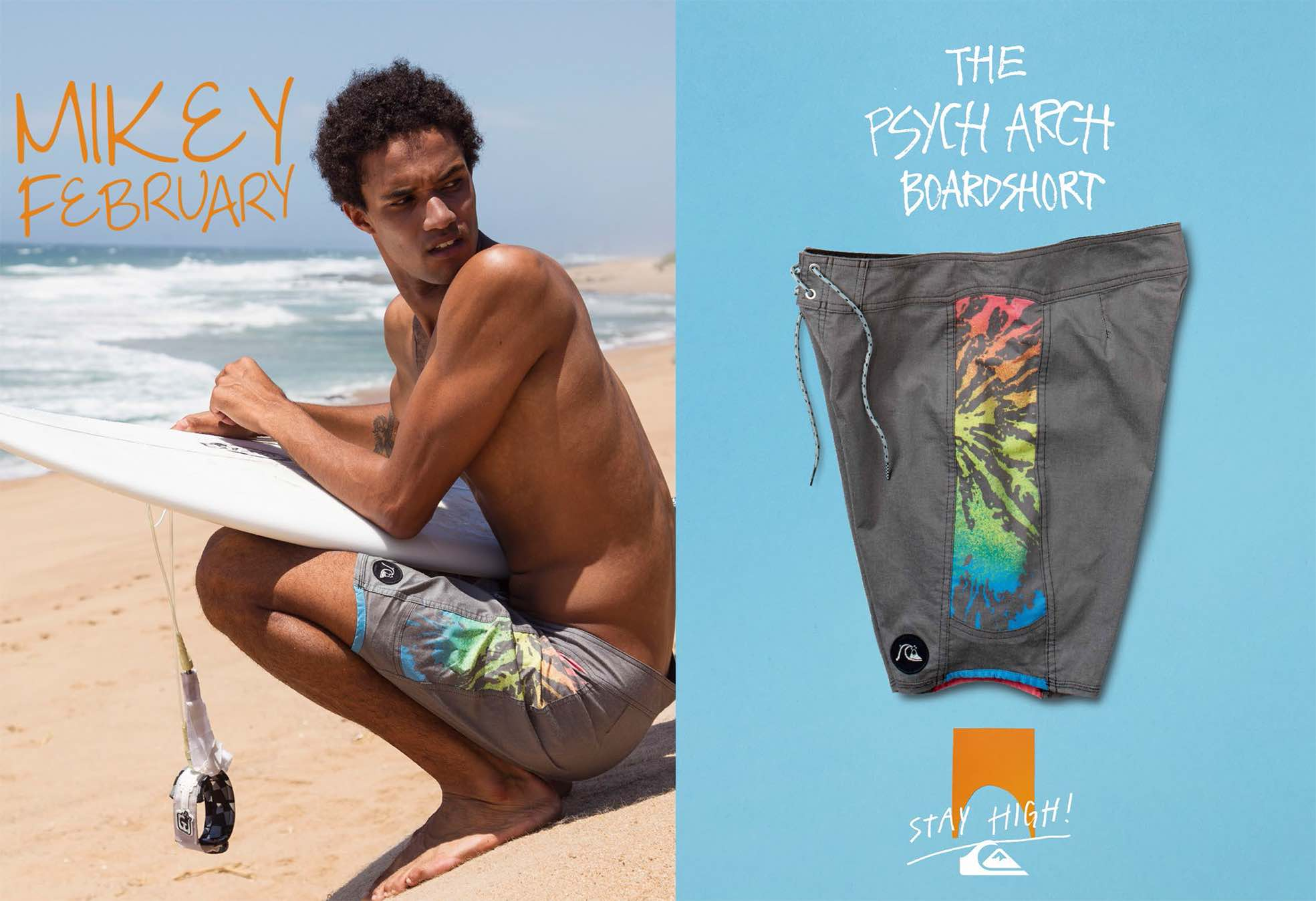 Surfing legend Mikey February wearing the Quicksilver Psych Boardshort