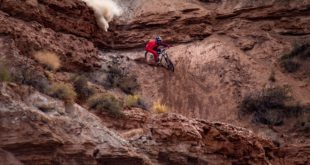 Brandon Semenuk on route to wining his second Red Bull Rampage event