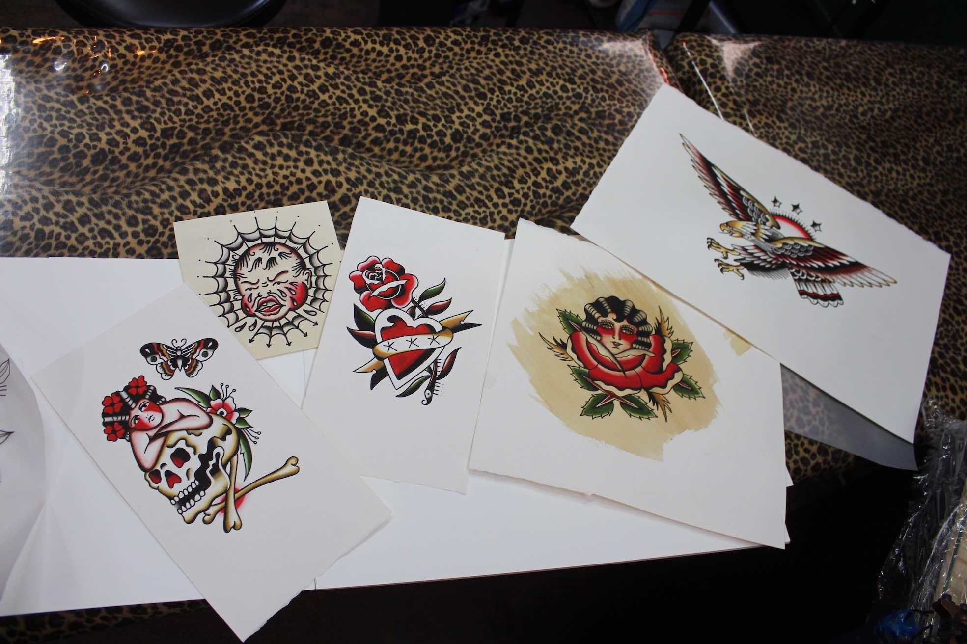 Paintings done by tattoo artist Wesley von Blerk