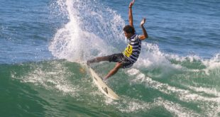 Michael February surfing his way to victory at the Corona Durban Surf Pro