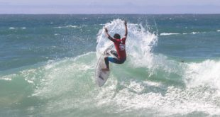 Michael February surfing his way to victory at the Nelson Mandela Bay Surf Pro