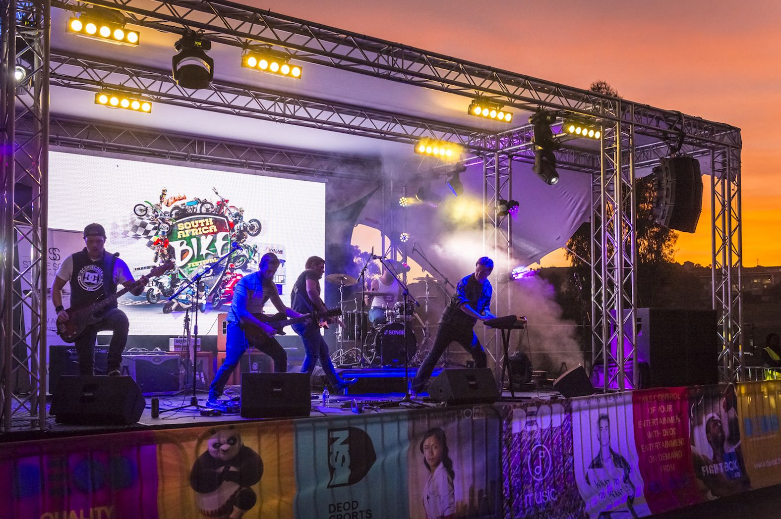 South African bands entertaining the crowds at the SA Bike Fest