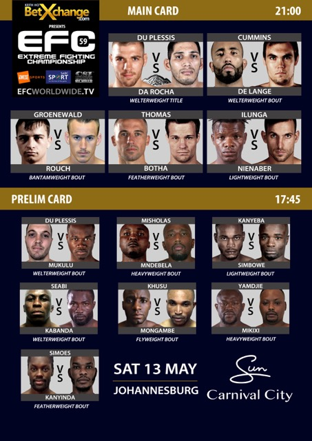 EFC 59 bring 12 exciting Mixed Martial Arts bouts to the hexagon on 13 May