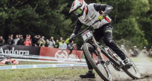 Greg Minnaar racing his way to a 2nd place finish at the Andorra Downhill MTB World Cup