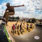 Thalente Biyela skateboarding in the Ramp Rodeo final