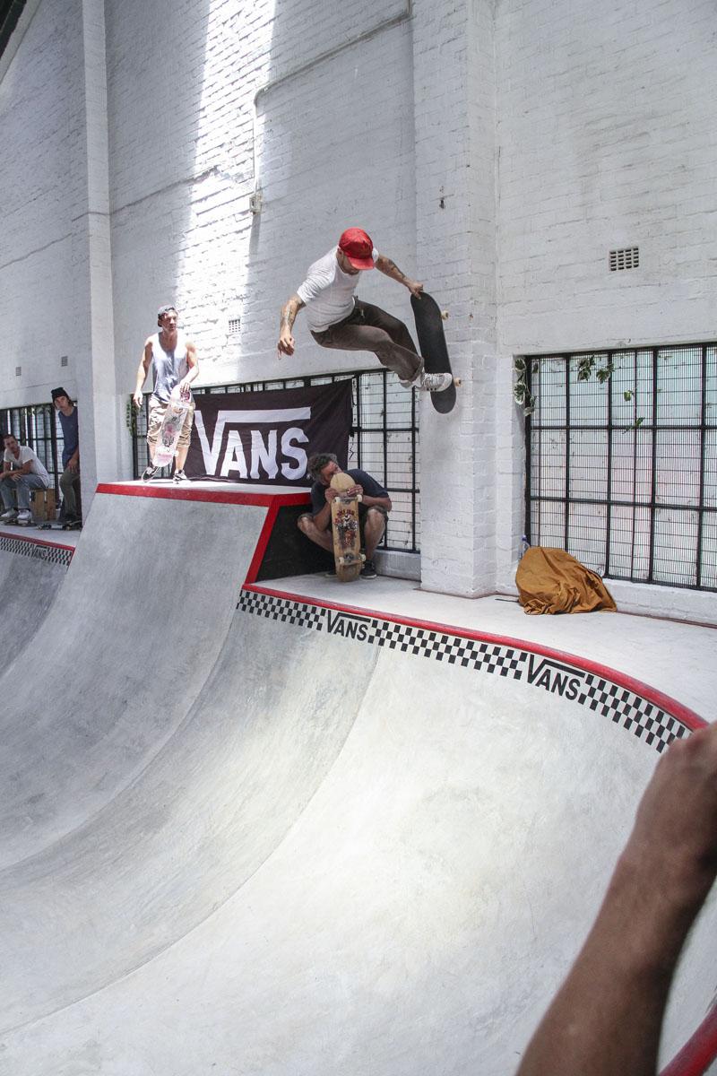 Skateboarding action at The Shred Skatepark's new bowl