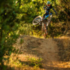 Local Downhill MTB riders enjoying the Hellsend Dirt Compound trails during the DarkFEST build